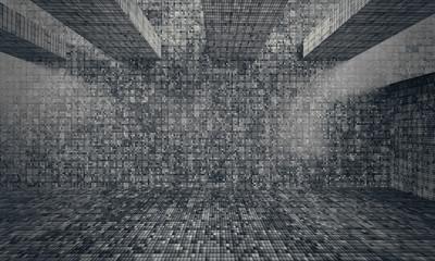 Abstract architecture interior concrete dark grunge background texture, 3d illustration.
