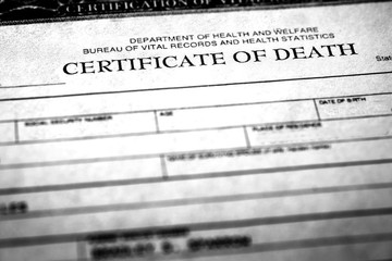 Death Certificate Symbolizing Person Who Passed Away