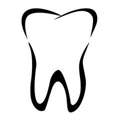 Tooth icon. Tooth isolated over white background. Stomatology concept. Vector illustration. Hygiene and whitening concept. Toothache