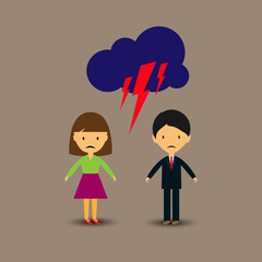 Bad relationship, a quarrel between a man and a woman