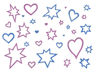 blue and violet stars and hearts pattern