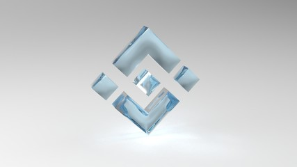 Binance BNB cryptocurrency 3d photorealistic render