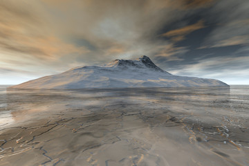 Island, a polar landscape, snowy mountain, frozen ocean and clouds in the sky.
