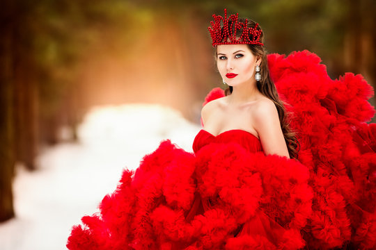 Winter Woman in Crown, Fashion Model Beauty Portrait, Red Ruched Fluffy Dress