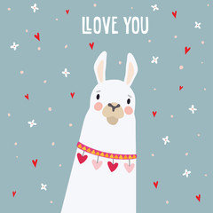 Cute birthday or Valentines day greeting card, invitation. Hand drawn white llama animal with falling flowers and hearts confetti. Vector illustration background.