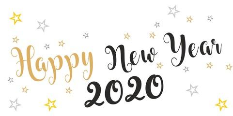 Życzenia Szczęśliwego Nowego Roku 2020 lub 2021 napisane na ładnym tle. Projekt karty szczęśliwego nowego roku. Ilustracji wektorowych EPS