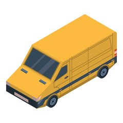 Yellow delivery car icon. Isometric of yellow delivery car vector icon for web design isolated on white background