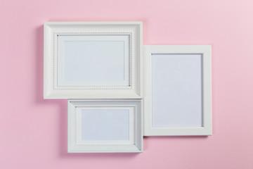 frames on pink background