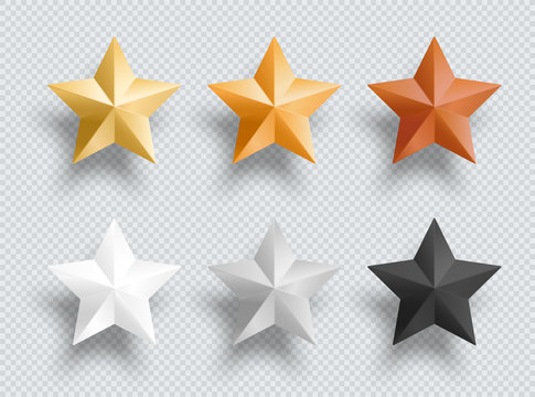 3d Metal Stars Gold Silver Bronze Vector Elements Set