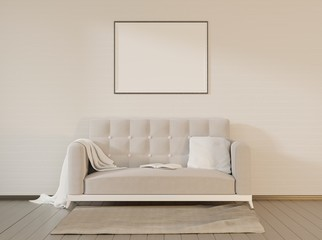 Home interior with couch and frame. Mock up with empty space. White Scandinavian interior. 3D rendering.