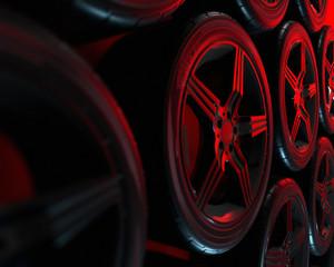 Poster Motorise Car wheels set on red background. Poster design. Stack. 3d illustration.