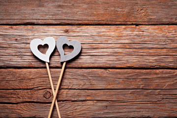 Valentine's Day , hearts on old wooden floor