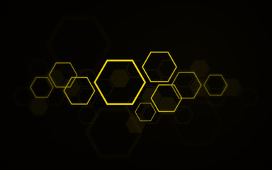 High resolution layered yellow hexagons, beehive honeycomb design art and design on black background.