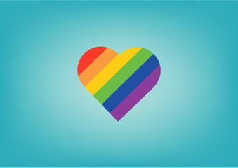 Pride LGBT Rainbow Colorful Shape of Heart Love Abstract Vector Background
