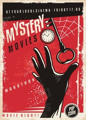 Mystery movies marathon retro cinema poster design. Film poster template with hand silhouette, clock,  key and spider web. Vector layout.