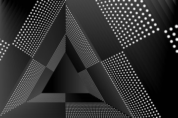 Abstract Black and White Pattern with Circles. Structural Triangular Texture. Raster. 3D Illustration