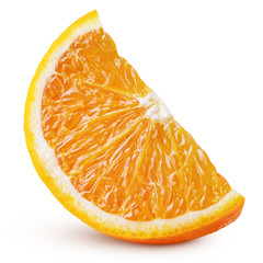 Standing ripe slice of orange citrus fruit isolated on white background with clipping path. Full depth of field.