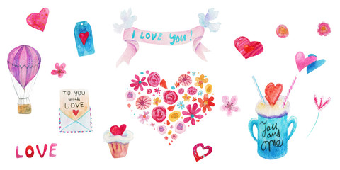 Watercolor Valentine day isolated illustration on white. Ribbon, pigeons, cupcake, hearts, letter, badge, bow