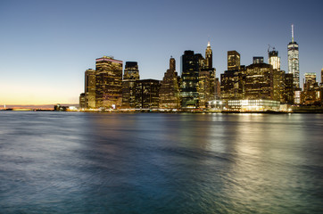 View of Lower Manhattan at sunset from Brooklyn, New York City