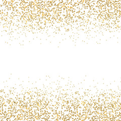 Gold dust falling down, behing the white background