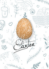 Easter composition with eggs and handdrawn background.