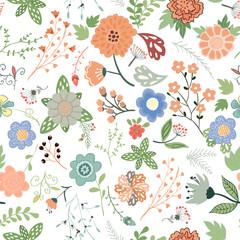 Handdrown seamless floral pattern . Flower vector illustration.