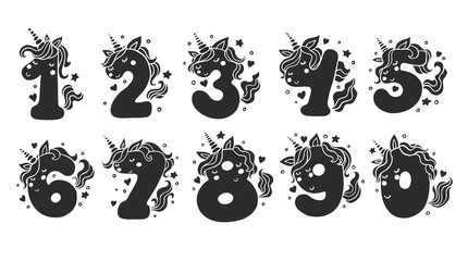 Custom vertical slats with your photo Numbers With Cute Unicorns Character Vector Set