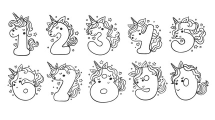 Numbers With Cute Unicorns Character Vector Set