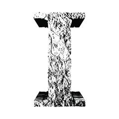 3D grunge stone font.