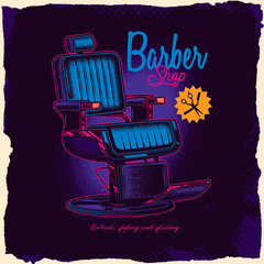 Original vector illustration in neon style. Barber chair, and other items.