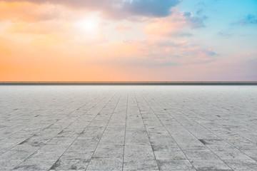 Empty Plaza Bricks and Sky Cloud Landscape..