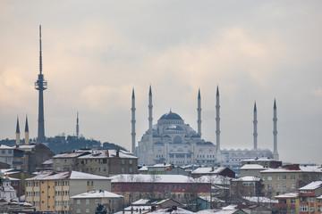 Camlica Hill, Camlica Mosque. A snowy istanbul day.Istanbul, Turkey