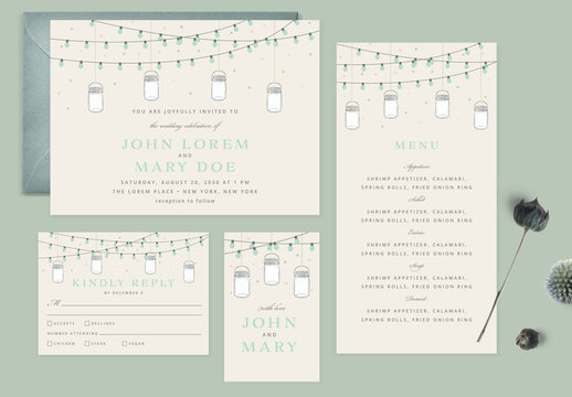 Boho Wedding Invitation Layout Set