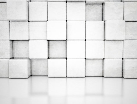 Abstract wall of cubes, illustration
