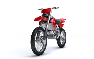 Foto op Aluminium Motorsport 3D illustration of red glossy sports motorcycle isolated on white background. Perspective. Front view. Left side. Low angle.