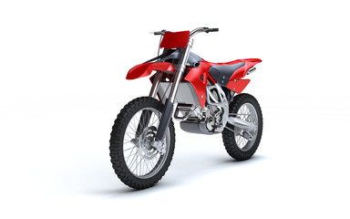 Poster Motorise 3D illustration of red glossy sports motorcycle isolated on white background. Perspective. Front side view. Left side. High angle.
