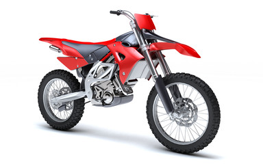 3D illustration of red glossy sports motorcycle isolated on white background. Perspective. Right side view.