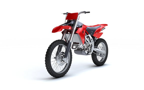 3D illustration of red glossy sports motorcycle isolated on white background. Perspective. Front side view. Left side. High angle.