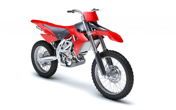 3D illustration of red glossy sports motorcycle isolated on white background. Perspective. Front side view. High angle view. Right side