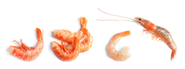 Set of fresh shrimps on white background, top view