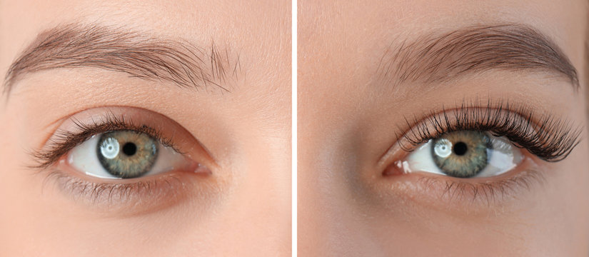 Young woman with beautiful eyelashes, closeup. Before and after extension procedure
