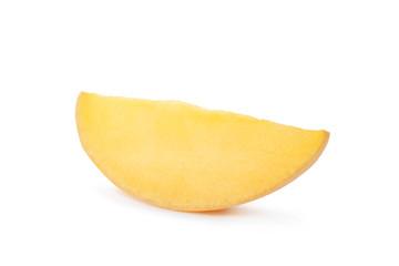 Fresh juicy mango slice isolated on white