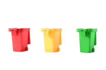 Trash bins isolated on white. Waste recycling concept