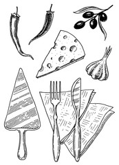 Set of pizza and ingredients for cooking. Spatula Napkins Garlic Olives Pepper. Hand drawn template for restaurant menu. Vintage sketch Doodle style.