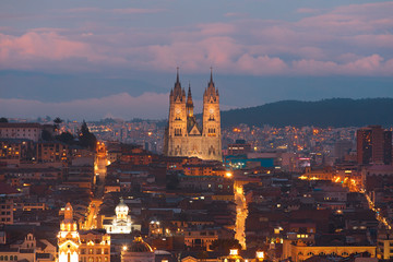 Quito Ecuador at night panorama
