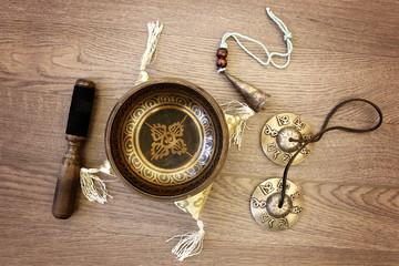 Tibetan Singing Bowl and Tingsha for Yoga, Relaxation, and Meditation