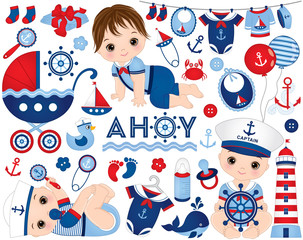 Vector Baby Boy Set in Nautical Style. Baby Boy Vector Illustration