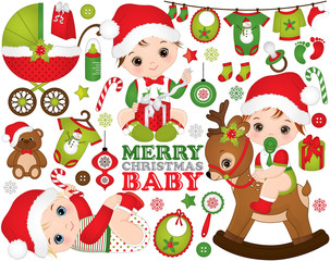 Vector Christmas and New Year set with cute little baby boys, toys, decorations and various Christmas elements
