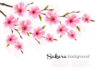 Fototapete - Spring background with Sakura japan cherry branch. Vector