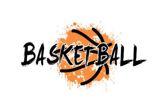 Inscription basketball on the background basketball ball